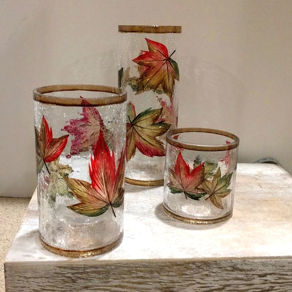 Yankee Candle Holders Set of 3 Autumn Leaves